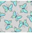 Blue butterflies seamless pattern on fashion grey vector image
