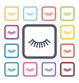 eyelash flat icons set vector image