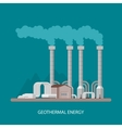 Geothermal power plant and factory Energy vector image