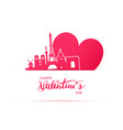 red heart and silhouette of paris city vector image