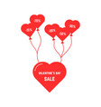 red heart flying on balloon vector image