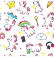 seamless pattern with cute unicorn characters vector image