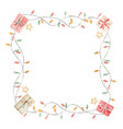 watercolor christmas frame with garlands and gifts vector image