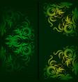 Vintage pattern on a dark green background vector image