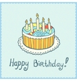 Birthday card with cake on blue textured vector image