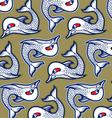 cartoon evil fish background pattern vector image