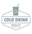 cold drink logo simple gray style vector image