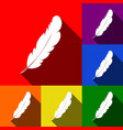 feather sign set of icons vector image