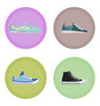 various modern sneakers flat icons set vector image