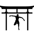 jumping man in torii gate vector image