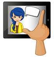 A finger touching the gadget with a woman having vector image vector image