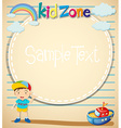 Border design with littile boy and toy vector image