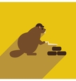 flat icon with long shadow beaver builder vector image