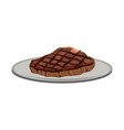beef steak fillet grilled on a plate icon cartoon vector image