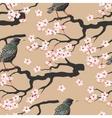 Branch of blooming cherry seamless vector image