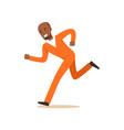 criminal black man in an orange uniform is running vector image