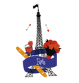 Emblem with Eiffel Tower vector image