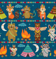Seamless pattern with tribal animals night vector image