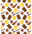 spices seamless pattern mulled wine and chocolate vector image