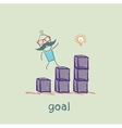 man is on schedule up to the goal vector image