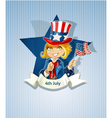 4th July poster with pretty girl vector image