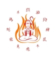 Monkey sitting in in the fire Translation of vector image