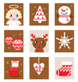 christmas characters icons vector image