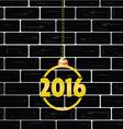 black brick wall with gold 2016 ball vector image