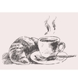 Cup of coffee croissant vintage retro hand drawn vector image