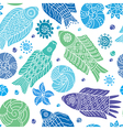 Decorative seamless background pattern with fishes vector image