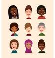 Happy people round avatar icon set vector image