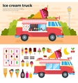 Ice cream truck in a hot day vector image