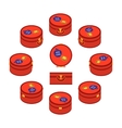 Isometric red round travelers suitcases vector image
