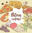 italian cuisine food menu design template vector image