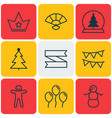 set of 9 happy new year icons includes winter vector image