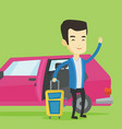 young asian man traveling by car vector image