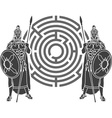 labyrinth and guards stencil vector image