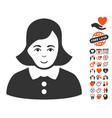woman icon with valentine bonus vector image