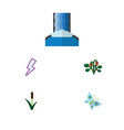 flat icon ecology set of cattail cascade berry vector image