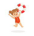 sweet girl running with lifebuoy kids summer vector image