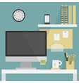 Flat office interior with desk and monitor vector image