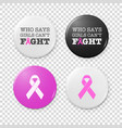 realistic button badges with cancer theme vector image
