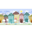 Seamless border with cute houses and trees winter vector image