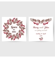 Wedding Postcard With Red Berries vector image