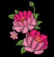 Pink peonies with leaves Embroidery vector image vector image