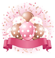 Pink Birthday balloons design vector image