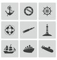 black nautical icons set vector image vector image