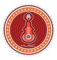 guitar round label vector image vector image