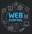 black line flat circle web surfing vector image