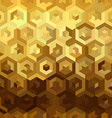 Gold isometric 3d cube seamless pattern low poly vector image